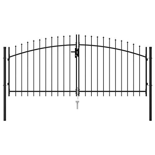 Festnight Cancela de Valla Doble Puerta con Puntas Acero Puerta Jardin Metalica Vallas para Jardin Negro 3x1,25 m
