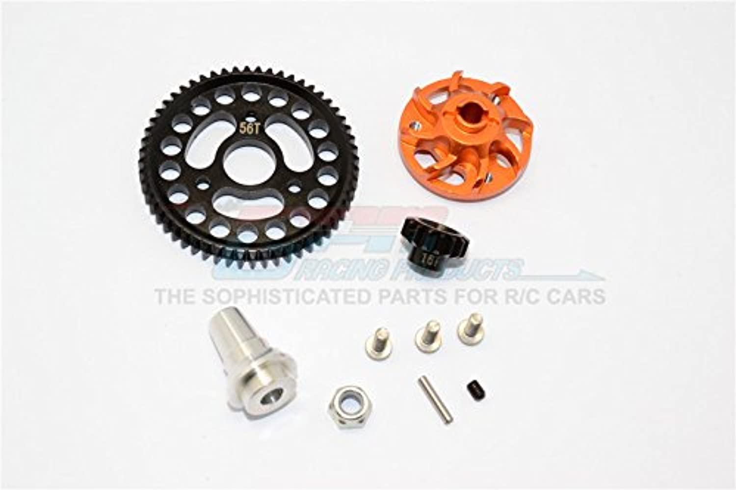 Traxxas Slash 4x4 Low-CG Version Upgrade Parts Aluminum Gear Adapter With Steel 32 Pitch 56T Spur Gear & 16T Motor Gear - 1 Set orange