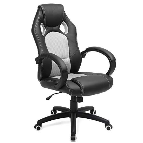 SONGMICS Racing Stuhl Bürostuhl Gaming Stuhl Chefsessel Drehstuhl PU Schwarz-Grau OBG56BG