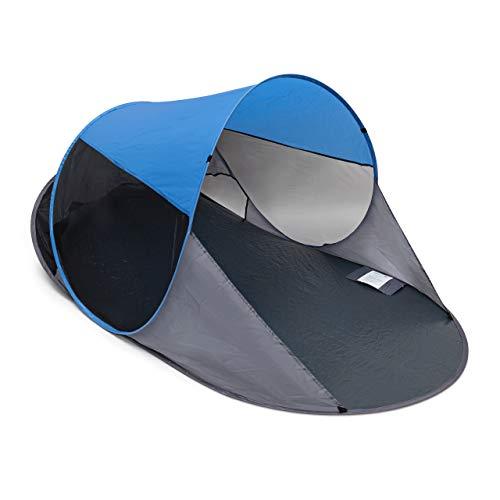 Relaxdays Pop Up Strandmuschel, HxBxT: 90 x 200 x 120 cm, Wurfzelt, kleines Packmaß, Sonnenschutz, anthrazit-blau