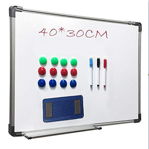 Alaskaprint Magnetisches Whiteboard Magnetwand magnettafel beschreibbar mit Alurahmen inklusive 3 Stiftablage, 12 Pinnwand Tafel und Schwamm 40 cm x 30 cm (B x H)