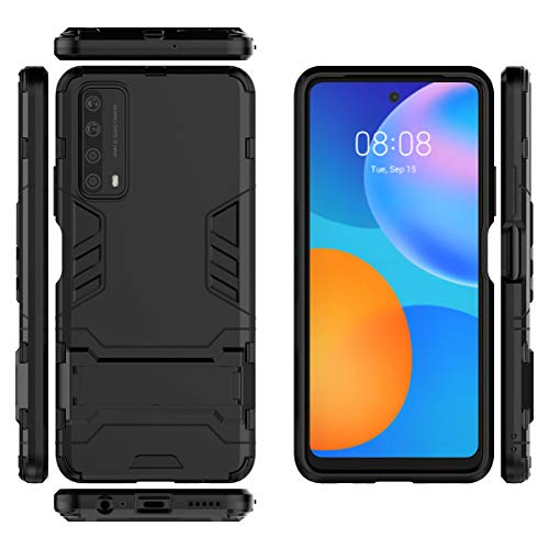 Gift_Source Huawei P Smart 2021 Funda, Y7a Funda, [Negro] Suave Silicona TPU y PC Dura Plastico Cover 2 en 1 Carcasa Protectora de Doble Capa con Función Soporte para Huawei P Smart 2021/Y7A (6.67')