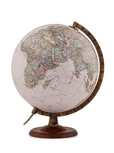 National Geographic Globus van walnoot en metaal, verlicht, in Italië, 30 cm, Sepia (maiberia Gold Executive)