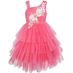 Satin and tulle, full lined with 100% cotton Knee length. Hidden back zip Machine washable, low tumble dry Girls' Dresses Size 7 Years. Please read detail size measurement in Product Description before purchase Size Measurement: Chest: 26.0'', Waist:...