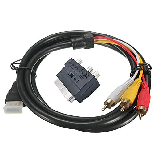 Timagebreze Adaptador SCART Conector de Enchufe Adaptador 21P SCART una AV 3RCA con Interruptor Convertidor