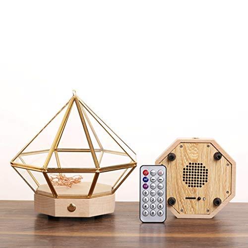 DYU Bluetooth Muziekbox Glazen Lampenkap Met Nachtlampje Oplaadbare Muziekdoos Valentijnsdag/Kerstmis/Verjaardagscadeau