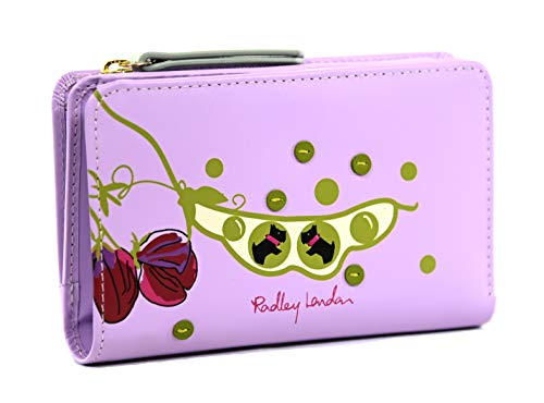 Radley Medium Leather Bifold Purse Peas in a Pod in Lilac Purple