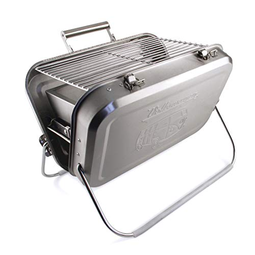 BRISA VW Collection - Volkswagen T1 Bulli Bus Portabler-Koffer-Grill mit Grillrost, Auffangschale für Kohle & mit Tragegriff, Geschenk-Idee/Grill-Zubehör/Outdoor (Edelstahl)