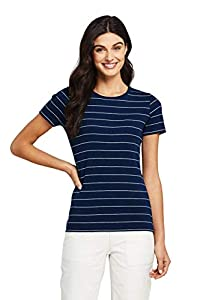 Lands' End Women Short Sleeve Shaped 1x1 Rib Crew Deep Sea/White Stripe Plus 1x