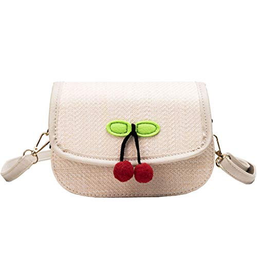 Why Should You Buy Women Handmade Straw Woven Flap Crossbody Cherry Pendant Magnetic Clasps Satchel ...