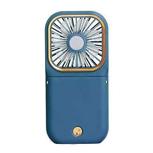 KUMADAI Mini Ventilador USB Portátil Recargable,Pequeño Ventilador De Cargar De Cuello Colgante Perezoso, para Viajes Al Aire Libre Soporte para Teléfono Móvil Banco De Energía,Azul