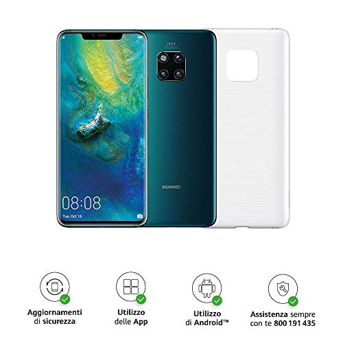 "Huawei Mate 20 Pro (Green) più Cover Originale, Telefono con 128 GB, Display Oled 6.39"" QHD+, Processore Octa Core dinamico con Intelligenza Artificiale"