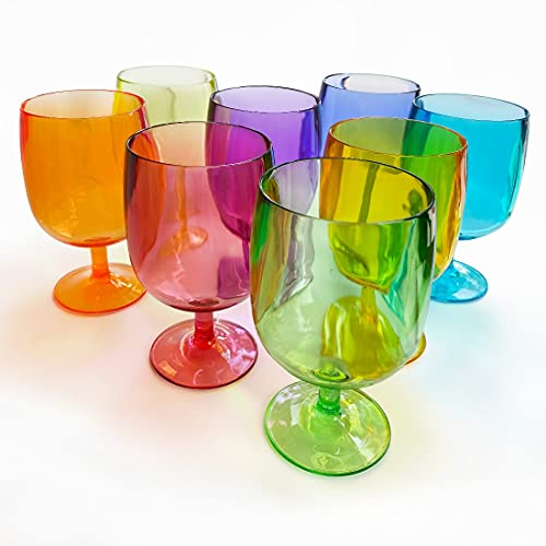 Lily's Home Set of 8 Colors Unbreakable Poolside 12 oz Acrylic Plastic Wine and Water Tumbler Stackable Goblets. Made of Shatterproof Plastic and Ideal for Indoor and Outdoor Use, Reusable.