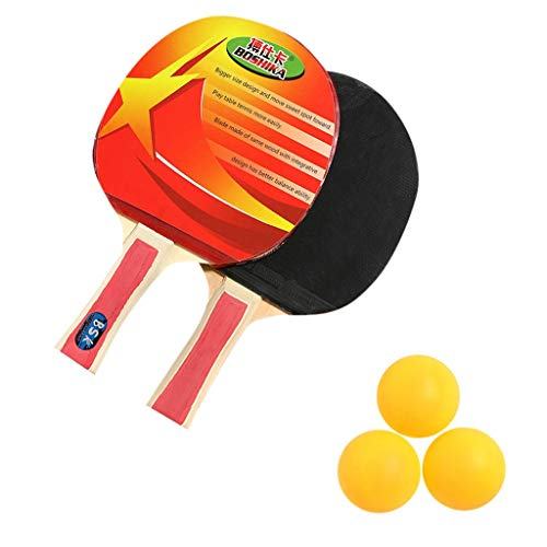Ping Pong Set with Portable Bags, 2 Paddles and 3 Balls, Professional Table Tennis Set for Adults and Kids for Indoor/Outdoor Tabletop Tennis Play Best Gift (Red)