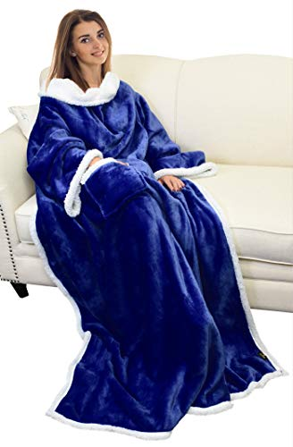 Catalonia TV-Decke Kuscheldecke ganzkörperdecke mit Ärmeln und Taschen zweiseitige Decke Microplush Fleece Sherpa Warme Decken für Erwachsene Frauen Männer Erwachsene 183cm x 140cm, Blau