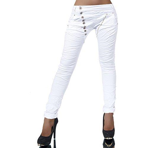 Damen Jeans Hose Boyfriend Damenjeans Harem Baggy Chino Haremshose L368, Farben:Weiß, Größen:40 (L)
