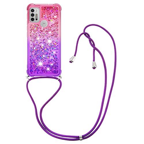 HülleLover Handykette Handyhülle für Motorola Moto G30/G10, Glitzer Flüssig Bewegende Treibsand Transparent Silikon Hülle mit Kordel zum Umhängen Necklace Phone Hülle Band für Moto G10/G30, Pink Lila
