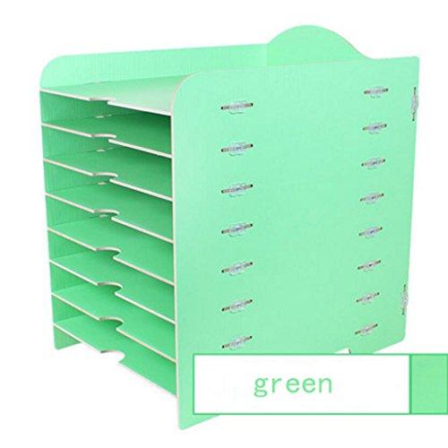 Liuyu · Maison de Vie Boîte de Rangement Creative Bureau Bricolage Bureau Woody 8 Couches fichier Finition Armoire Multifonction (Couleur : Vert)