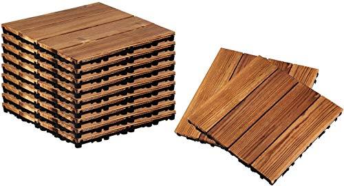 Yunge 11 suelos de madera Plano Foil Azulejos Pine Retro Decor, 11,81' x 11,81' Tiles Plataforma Acacia Hardwood Interlocking