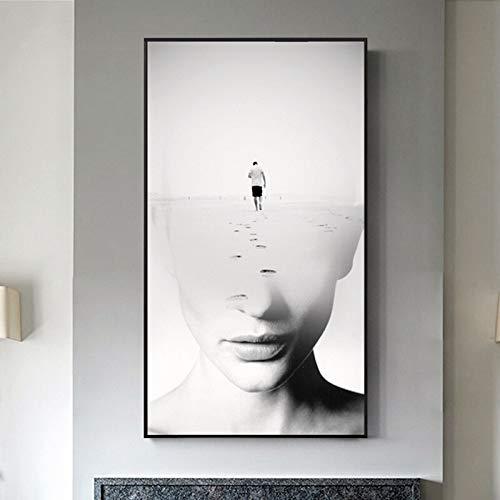 wZUN Póster de película nórdico en Blanco y Negro impresión sin Rostro Mujer Lienzo Pintura Mural Sala de Estar Cartel de Paisaje nórdico 60x110 Sin Marco