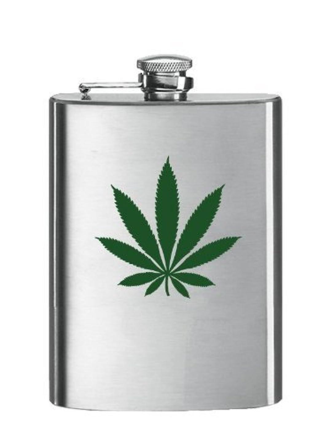 書道うん寛大なSimran HF-1052 8 oz. Matte Stainless Steel Hip Flask - Leaf