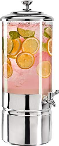 Godinger Beverage Dispenser, Cold Drink Dispenser, Iced Beverage Server, Stainless Steel and Glass - 2 Gallons