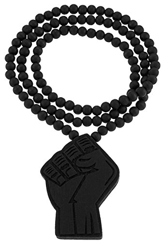 GWOOD Power Fist Black Color Wood Pendant with 36 Inch Long Bead Necklace