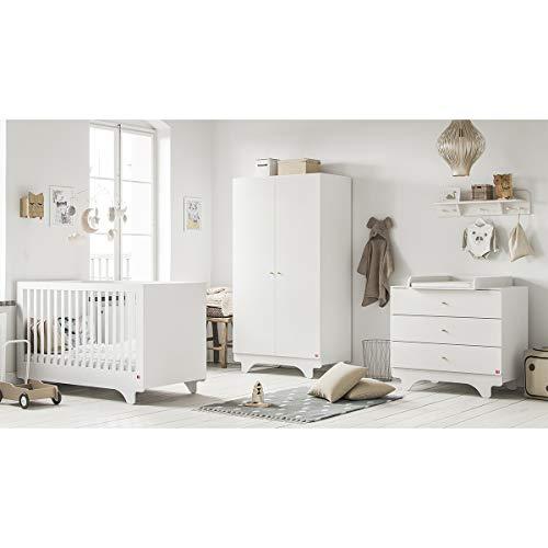 Chambre complète lit évolutif 70x140 - commode à langer - armoire 2 portes Playwood - Blanc