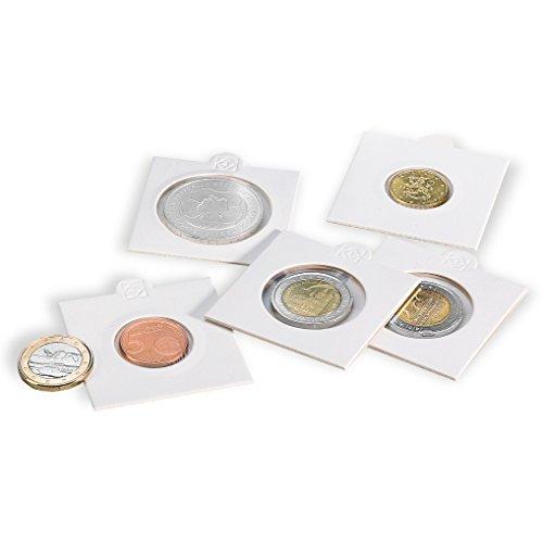 Leuchtturm 306467 Münzrähmchen Matrix 35 mm | Selbstklebende Rahmen für Münzen | 100 STK. | weiß
