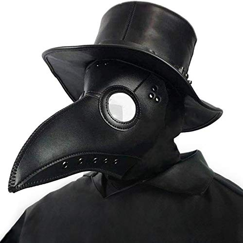 Creepy Party Pest Doktor Maske Schwarz Leder Lange Nase Vogelschnabel Steampunk Masken Kostüm Requisiten für Masquerade Ball Halloween Party Karneval Cosplay