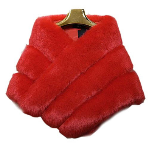 FOLOBE Hochzeit Faux Pelz Braut Schals Jacke Stolen Frauen verdicken Faux Pelz Wrap Schals Shrug Warm Poncho für Winter Brautkleid