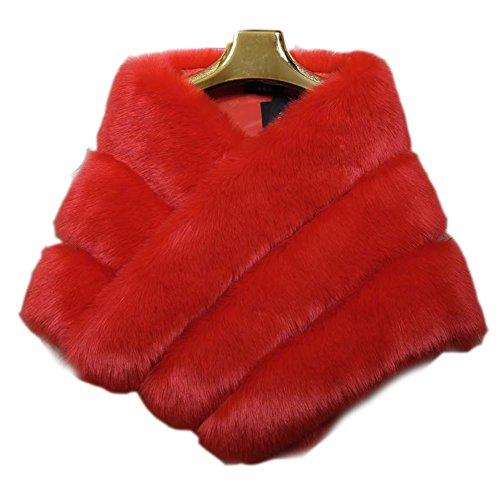 FOLOBE FOLOBE Hochzeit Faux Pelz Braut Schals Jacke Stolen Frauen verdicken Faux Pelz Wrap Schals Shrug Warm Poncho für Winter Brautkleid