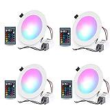 Foco LED empotrable, 4 x 10 W, foco empotrable de techo con cambio de color regulable RGB, 16 colores, foco redondo con mando a distancia para baño, cocina, salón, dormitorio