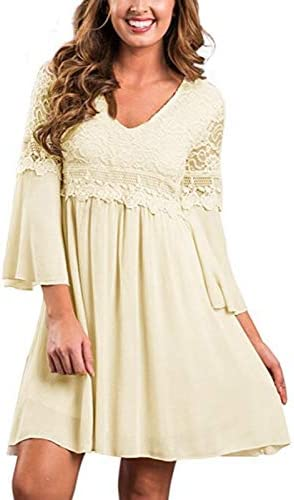 ZANZEA Women s Vintage Floral Lace V Neck 3 4 Bell Sleeve Cocktail A line Swing Party Casual product image