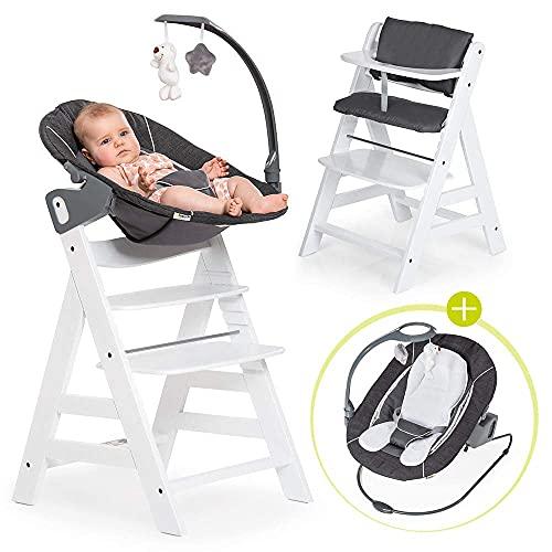 Hauck Alpha Plus Newborn Set Deluxe - Chaise Haute Bébé en Bois - Évolutive dès naissance - Inclus Transat pour nouveau-né, Coussin assise, Hauteur réglable - Blanc