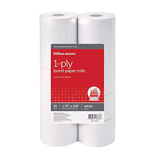 Office Depot 1-Ply Paper Rolls, 1 3/4in. x 128ft, White, Pack of 10, 109044