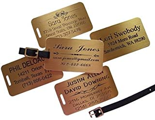 JUMBO Engraved Brass Luggage Tags (2) Customize Live Online
