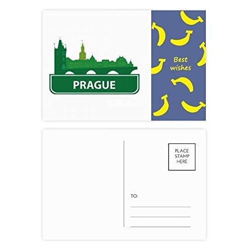 Prag Tschechische Republik Grüne Landmark Banana Postkarten-Set, Danksagungskarte, Mailing-Seite, 20 Stück