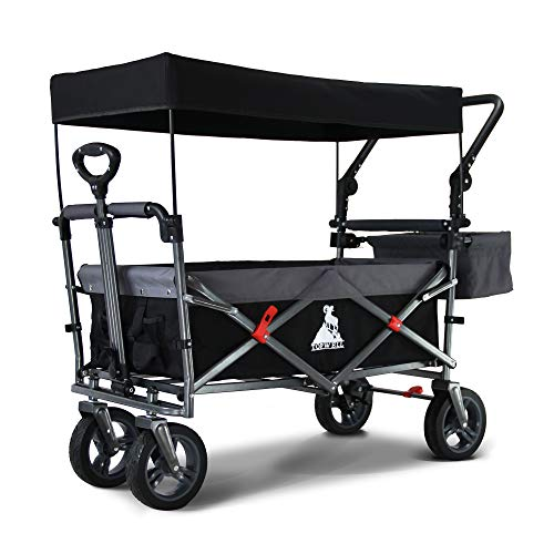 TOPWELL All-Terrain Folding Trolley with 360° Wheels, Foldable Handcart Transport Trolley, Foot Brake and Removable Roof, Foldable Hand Cart for Children, 83 L, 120 kg