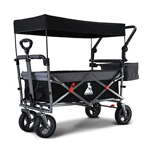 TOPWELL 360 ° Rad All-Terrain bollerwagen, Klappwagen Transportwagen, Fußbremse und bewegliches Dach, Kinder Klappwagen, 83 Liter, 120 kg(Schwarzgrau)