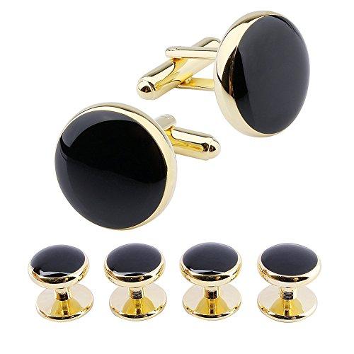 Hawson - Set di gemelli rotondi e 4 borchie per smoking da uomo, camicia, accessori per matrimonio Tonalit Oro/Nero Small