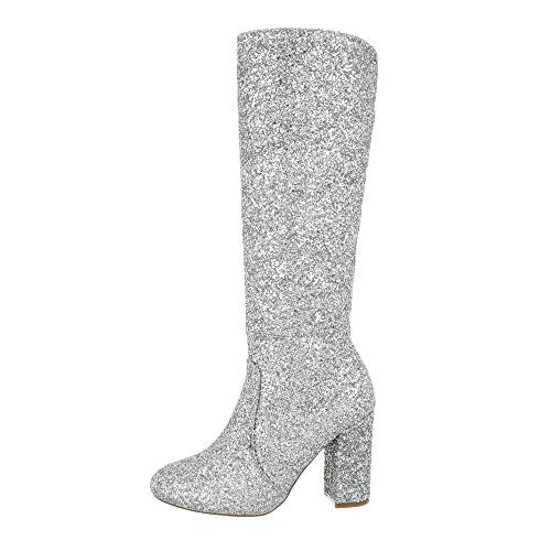 Ital-Design Damenschuhe Stiefel High Heel Stiefel Synthetik Silber Gr. 36