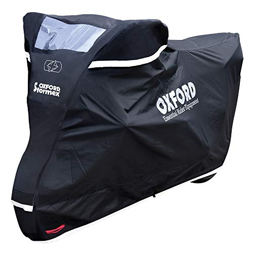 Oxford Products CV332 Oxford Stormex Outdoor Waterproof Motorcycle Cover, Black, Large-246cm (Length) X 104cm (Width) X 127cm (Height)