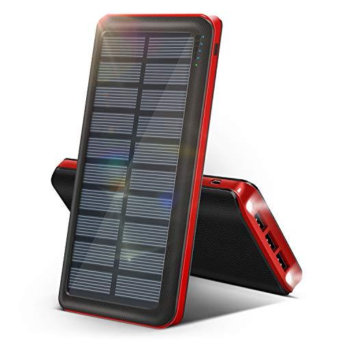 RUIPU Powerbank Solare 26800 mAh 【L'Ultimo Caricabatterie Solare Portatile del 2020】 Grande capacità 3 Porte di Uscita Batteria Esterna Torcia a LED per Samsung Huawei iPad Tablet