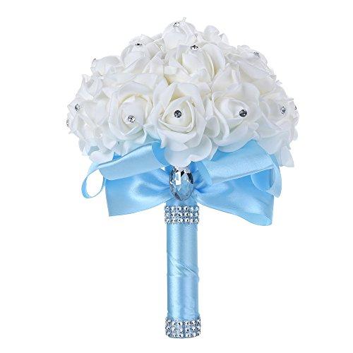 Febou Wedding Bouquet Bridesmaid Bouquet, Bridal Bouquet Artificial Flowers for Wedding, Party and Church (Sky Blue)
