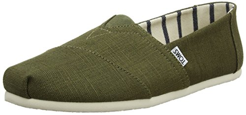 TOMS womens Espadrilles, Green Military Olive Heritage Canvas 301, 8.5 US