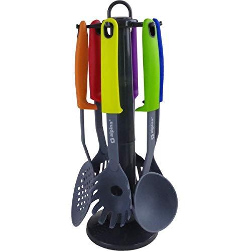 Alpina Küchenwerkzeuge 7-tlg. Set mit praktischem Drehständer