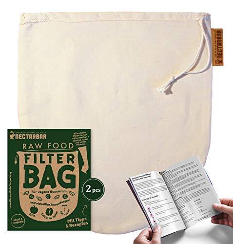 NECTARBAR (Eco) 2 x Nussmilchbeutel - Made in Germany | Filterbeutel aus Natur Baumwolle | Speziell für pflanzliche Drinks und zum Entsaften | Vegane Milch selbstgemacht aus Nüssen und Saaten, wie Mandelmilch und Hanfmilch | Dicht gewebter Passierbeutel, Seiher - 100% Plastikfrei - RAW FOOD FILTER BAG mit Anleitung