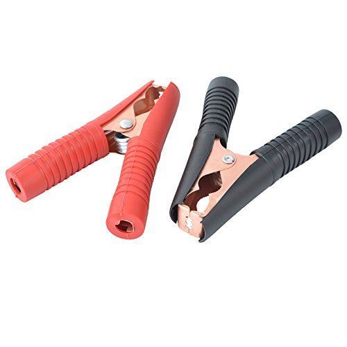 Godagoda Clip de Batterie Tester Rouge Noir Pince Crocodile Cuivrage 100A Clip de Batterie de Voiture Clip de Courant Élevé Plastique Isolant