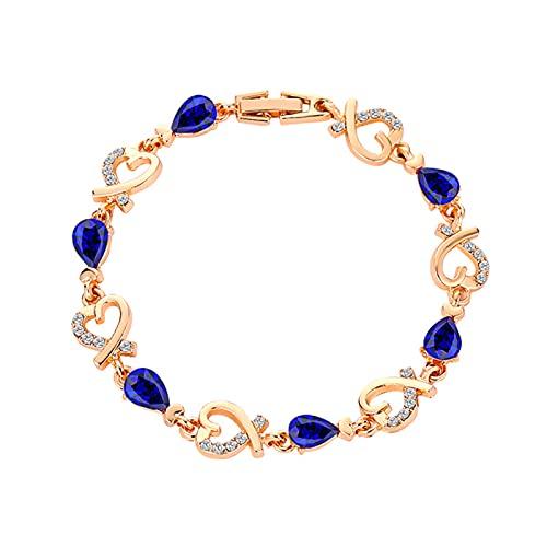 osyare Pulseras Regalos para Mujer, Brazalete Charm Mujer Cubic Zirconia Lady Elegant Love Heart Brazalete Azul